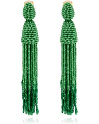 Oscar de la Renta Long Green Tassel Clipon Earrings - Lyst