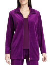 Joan Vass - Long Velour Zip-front Jacket - Lyst