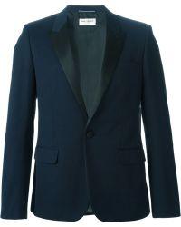 Saint Laurent Blue Tuxedo Blazer - Lyst