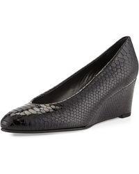 Stuart Weitzman Ambient Crystal Snakeembossed Leather Wedge - Lyst