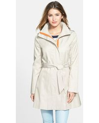 Kensie Contrast Trim Belted Trench Coat - Lyst