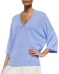 Vince Cashmere Drop-Sleeve V-Neck Sweater purple - Lyst