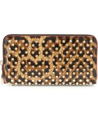 Christian Louboutin | Panettone Spiked Leopard-print Zip Wallet | Lyst