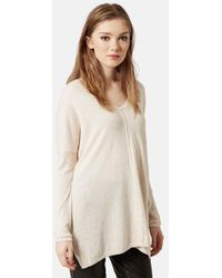 Topshop Front Seam V-Neck Sweater - Lyst