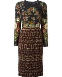 Dolce & Gabbana Floral and Key Print Dress - Lyst