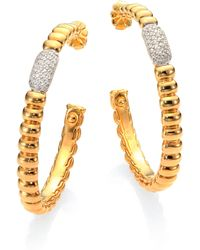 John Hardy Diamond 18k Yellow Gold Bedeg Hoop Earrings175 - Lyst