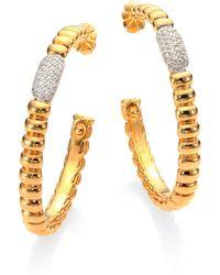 John Hardy | Bedeg Diamond & 18k Yellow Gold Hoop Earrings/1.75 | Lyst