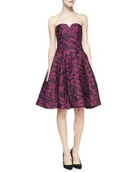 Halston Heritage Strapless Jacquard Party Dress - Lyst