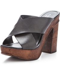 Carvela Knit Leather Cross Strap Heeled Sandals - Lyst