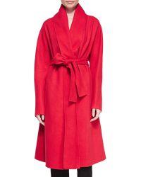 Donna Karan New York Cashmere Shawl-Collar Belted Coat - Lyst