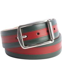 Gucci Green and Red Web Stripe Leather Belt - Lyst
