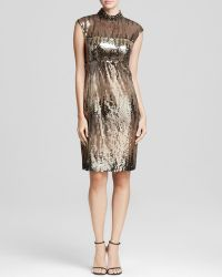 Sue Wong Dress - Mock Neck Embellished Sequin Illusion - Lyst
