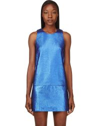 3.1 Phillip Lim Metallic Blue and Black Leather Shift Dress - Lyst