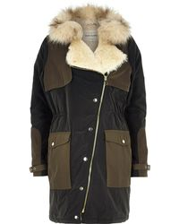 River Island Khaki Faux Fur Collar Hooded Parka Jacket - Lyst