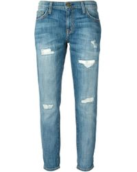 Current/Elliott Loose-fit Slim Cropped Denim Jeans - Lyst