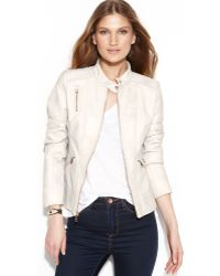 Guess Quilted-detail Faux-leather Jacket - Lyst