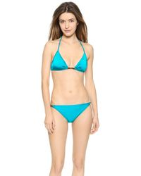 Milly Italian Solid Bikini Top - Teal - Lyst