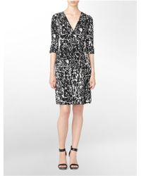 Calvin Klein Print Roll-up Long Sleeve Wrap Dress - Lyst