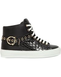 Ferragamo Pixy Embossed Leather High Top Sneakers - Lyst