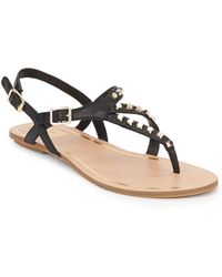 DV by Dolce Vita Rosario Studded Faux Leather Thong Sandals black - Lyst