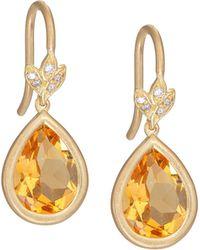 Jamie Wolf - Petite Leaf Citrine & Diamond Drop Earrings - Lyst