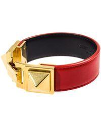 Saint Laurent Double Stud Leather Bracelet - Lyst