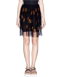 MSGM Lace Alphabet Appliqué Tulle Skirt black - Lyst