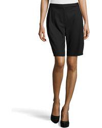 Halston Heritage Pleated Wool-knit Bermuda Shorts - Lyst