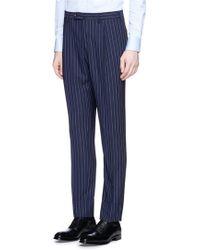 Lardini | Peak Lapel Pinstripe Double Breasted Wool Suit | Lyst
