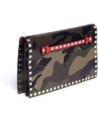 Valentino 'Rockstud' Camouflage Foldover Clutch - Lyst