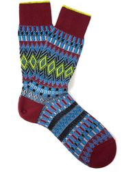 Smythson - Dark Purple Fairisle Basket Weave Socks - Lyst