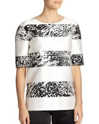 St. John Ocelot Print Cotton-Silk Top - Lyst
