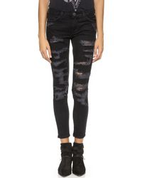 Current/Elliott The Stiletto Jeans Black Tattered - Lyst