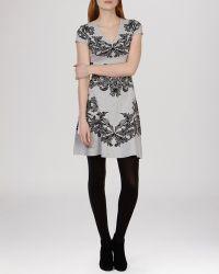 Karen Millen Dress - Lace Jacquard Knit gray - Lyst