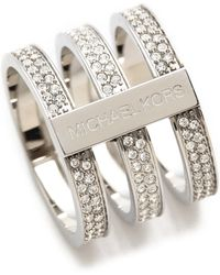 Michael Kors Tri Stack Open Pave Bar Ring Silverclear - Lyst