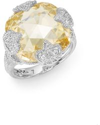 Judith Ripka Fleur Cushion-Cut Sterling Silver Ring - Lyst