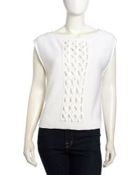 L.a.m.b. Sleeveless Cable Knit Panel Sweater White - Lyst
