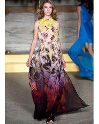 Matthew Williamson Hibiscus Flower Silk Embroidered Evening Gown - Lyst