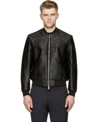 DSquared2 Black Coated Wool Evening Bomber - Lyst