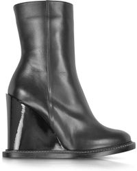 Jil Sander Black Leather Wedge Ankle Boot - Lyst