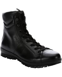 Prada Sport Black Leather Lace-up Boots - Lyst