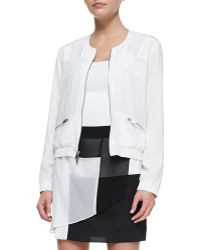 DKNY Long-Sleeve Zip-Front Jacket With Mesh Inserts - Lyst