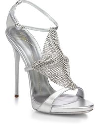 Giuseppe Zanotti Crystal-Paneled Metallic Leather Sandals - Lyst