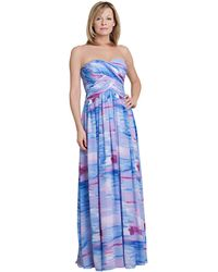 Js Boutique Abstract Print Strapless Maxi Dress - Lyst