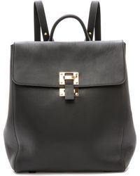 Sophie Hulme | Soft Flap Backpack - Black | Lyst