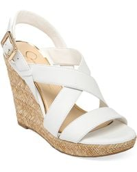Jessica Simpson Jerrimo Patent Leather Wedge Sandals - Lyst