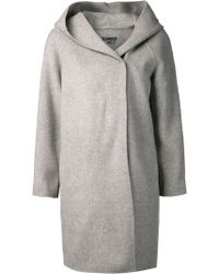 Vince Gray Hooded Coat - Lyst
