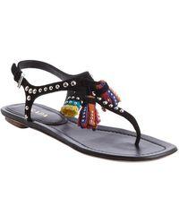 Prada Black Leather Studded Detail Multi-color Tassel Sandals - Lyst