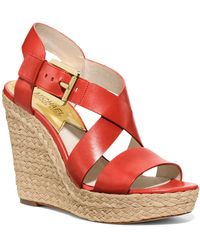 MICHAEL Michael Kors Open Toe Platform Wedge Espadrille Sandals - Giovanna - Lyst