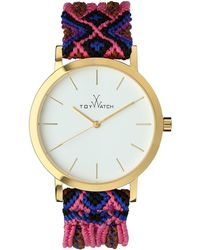 Toy Watch - Maya Yellow Golden Watch with Crochet Band Pinkmulti - Lyst